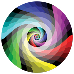 Design in CMYK color space = spiral color wheel